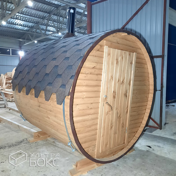 Баня-бочка-2м-Стандарт-Светло-коричневая-07