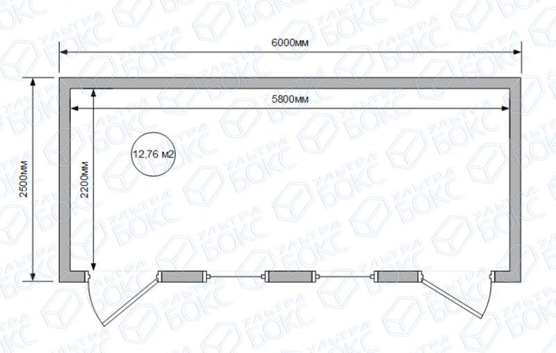 Блок-контейнер-БКС-00-6м-2-двери-схема